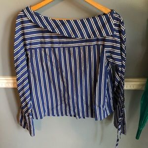Topshop Blue Striped Asymmetrical Top | Sz 8